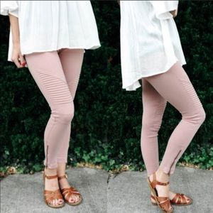 Stretchy Biker Leggings -BLUSH